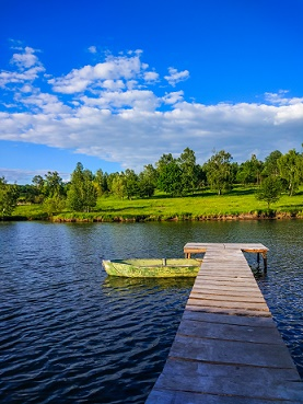 A wooden jetty on a lake